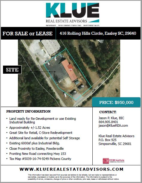 FOR SALE or FOR LEASE-416 Rolling Hills Circle, Easley