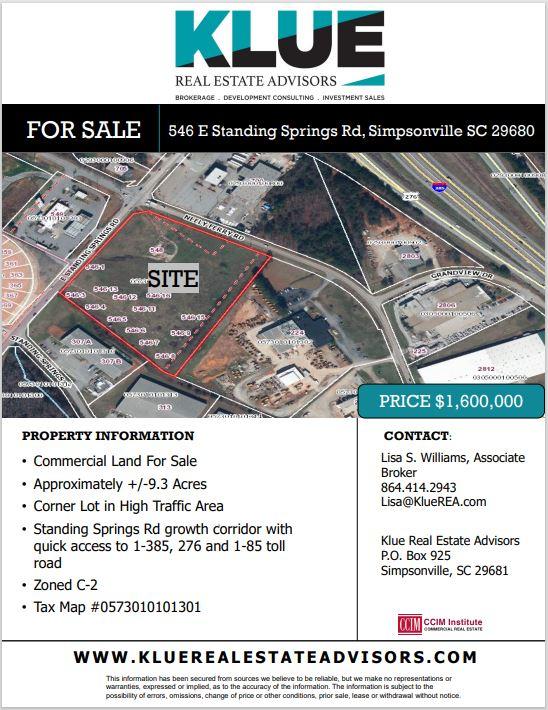 FOR SALE-546 E. Standing Springs Rd, Simpsonville